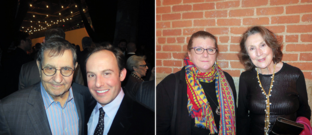 Left: Collector Marty Margolies and Whitney Museum chief curator Scott Rothkopf. Right: Dwan Collection and Archives curator Anne Kovach and collector Virginia Dwan.