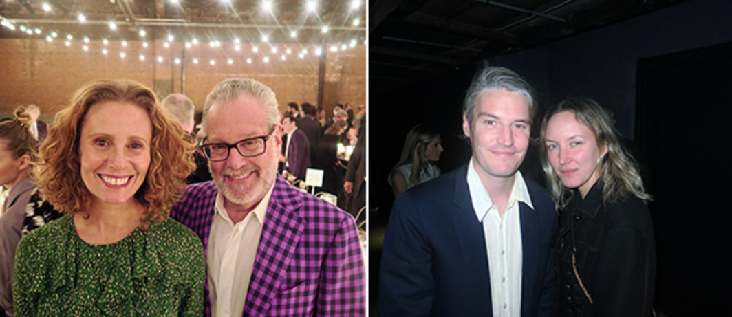 Left: Dealer Monica Manzutto and collector Howard Rachofsky. Right: Artists Nate Lowman and Rachel Chandler.