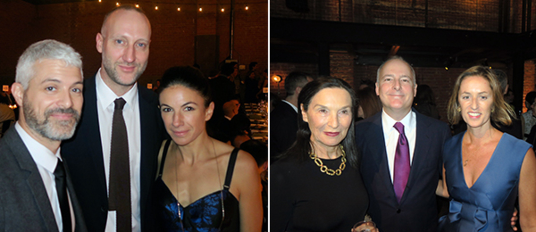 Left: MoMA PS1 curator Peter Eleey with PIN-UP editor in chief Felix Burritcher and art consultant Sabrina Buell. Right: Dealer Barbara Gladstone, collector Charles de Gunzburg and Dia director Jessica Morgan.