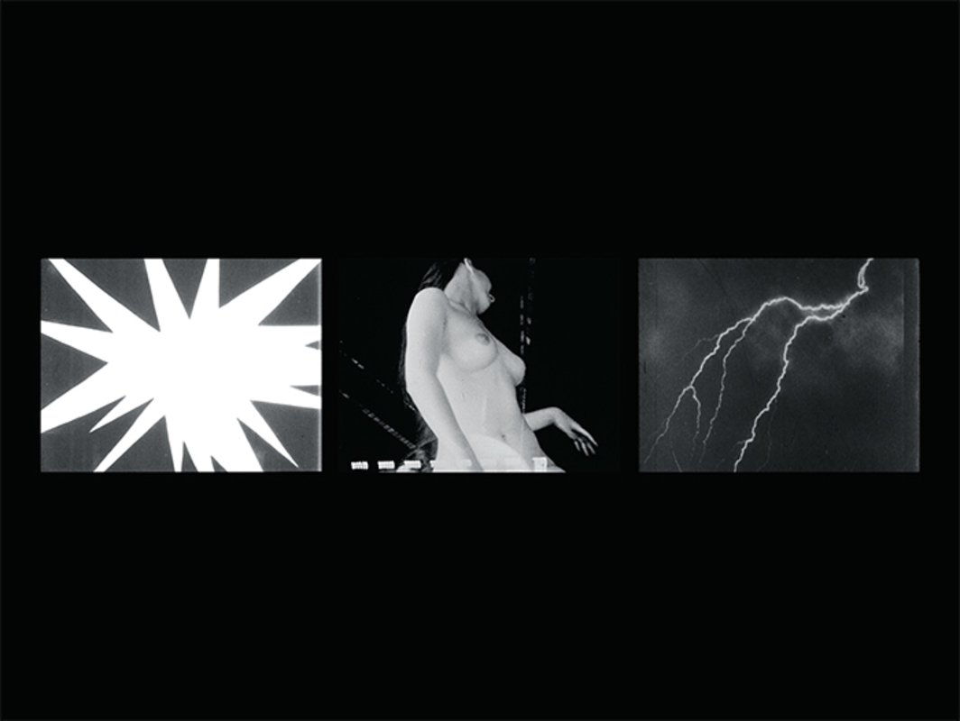Bruce Conner, Three Screen Ray, 2006, three-channel digital video, black-and-white, sound, 5 minutes 14 seconds. Still from the 2016 HD digital remastering.