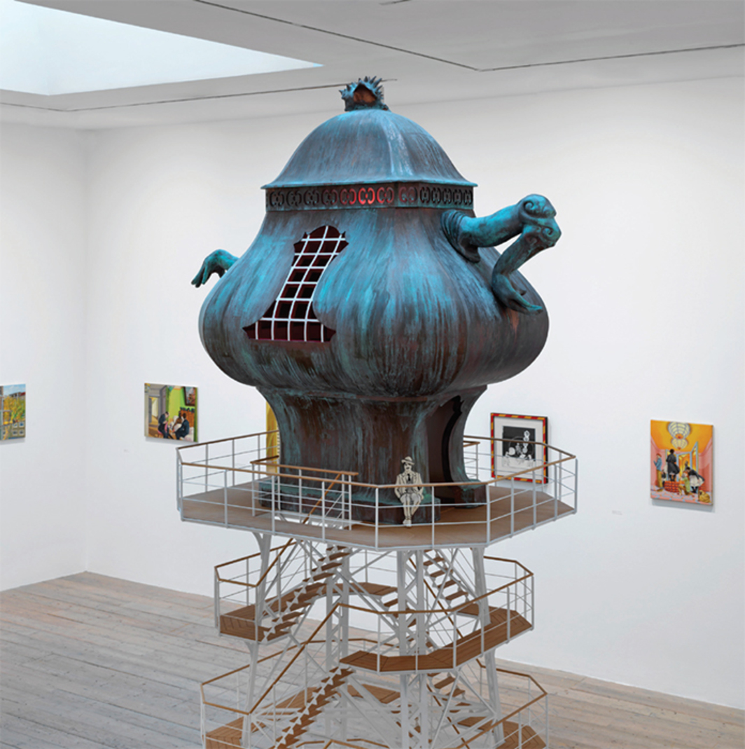 "View of ""Lukas Duwenhögger: You Might Become a Park,"" 2016, Raven Row, London. Center: The Celestial Teapot, 2007. Photo: Marcus K. Leith."