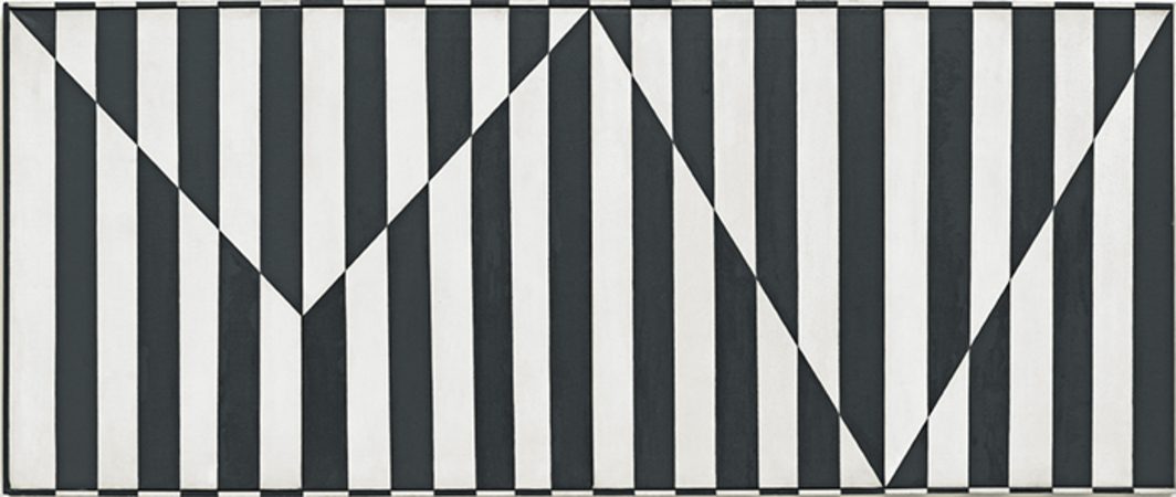 "Carmen Herrera, Untitled, 1952, acrylic on canvas with painted frame, four panels, overall 25 × 60""."