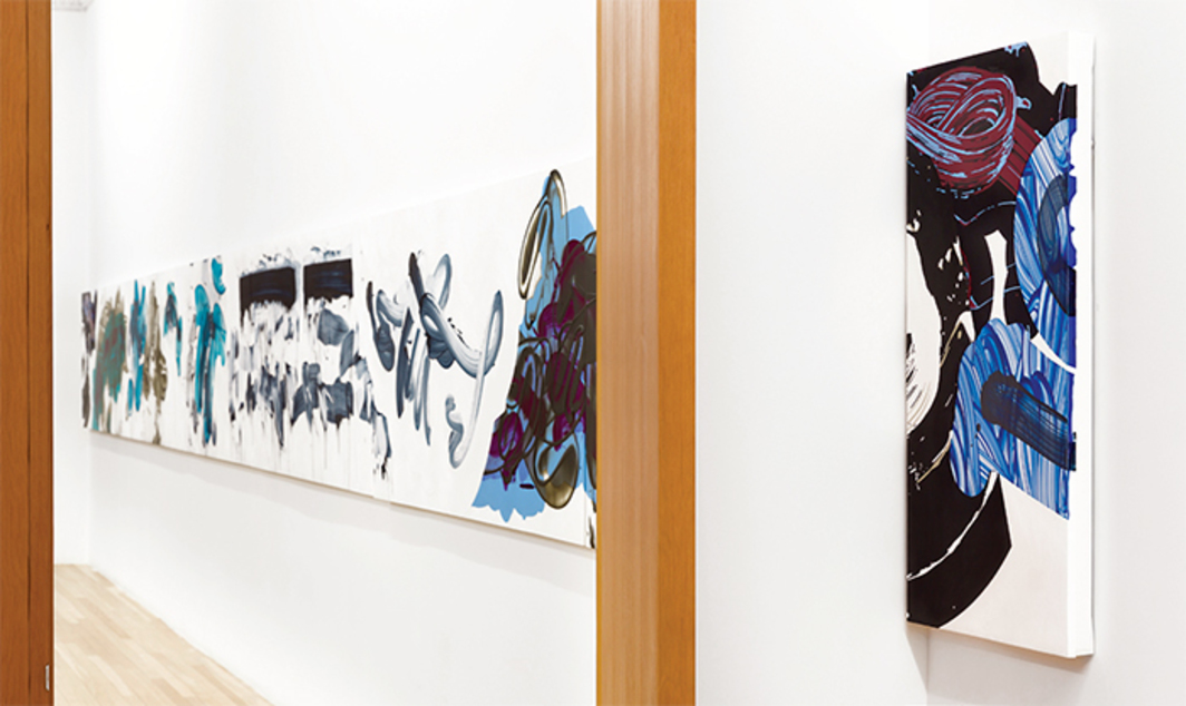 David Reed, Painting #655 and Painting #656, 2003–16, acrylic, alkyd, and oil on polyester, two panels. Installation view, Peter Blum Gallery, New York, 2016. Photo: Etienne Frossard.