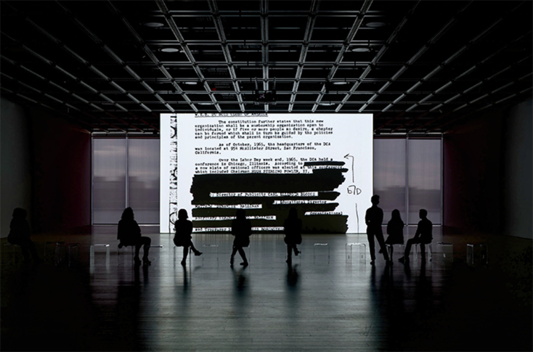Steve McQueen, End Credits, 2012/2016, sequence of digital scans, black-and-white, sound, 12 hours 54 minutes; sound element: 19 hours 23 minutes. Installation view, Whitney Museum of American Art, New York. Photo: Ron Amstutz.