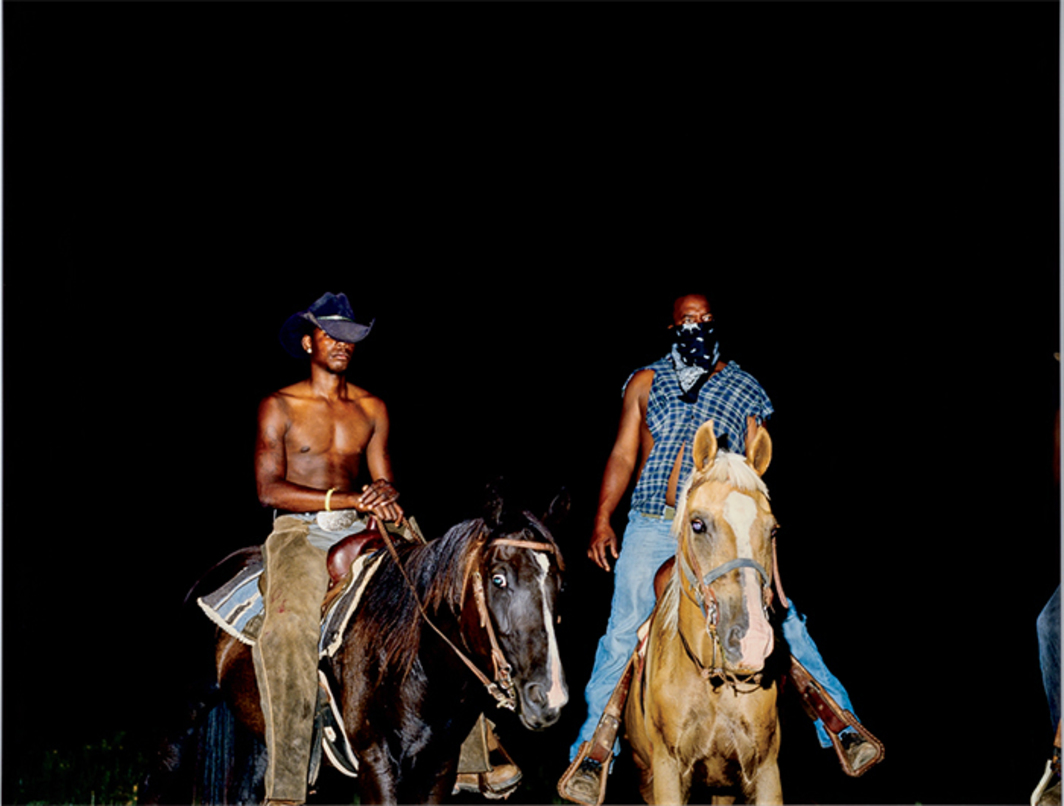"Deana Lawson, Cowboys, 2014, ink-jet print mounted on Sintra, 41 × 51""."