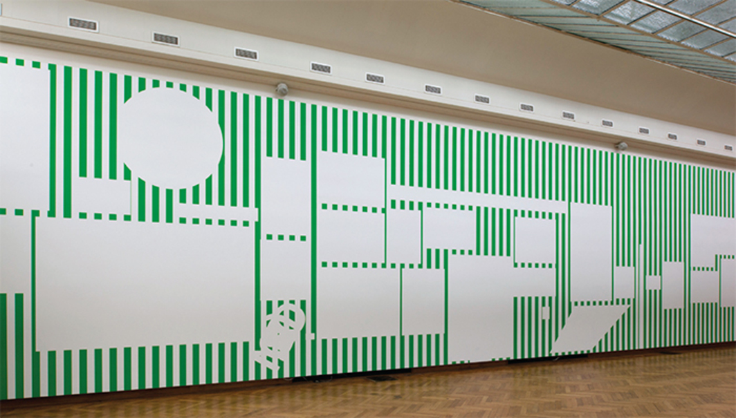 "View of ""Daniel Buren: A Fresco,"" 2016, BOZAR Centre for Fine Arts, Brussels. La salle des empreintes (Hall of Footprints), 2016. Photo: Philippe De Gobert. © DB/ADAGP."