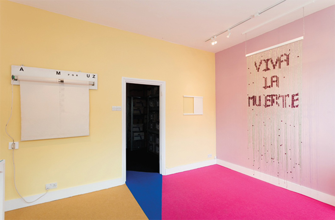 "View of ""Tears Shared: Marc Camille Chaimowicz featuring Bruno Pélassy,"" 2016, Flat Time House, London. From left: John Latham, Time Base Roller with Graphic Score, 1987; John Latham, Proto Universe, 2003; Bruno Pélassy, Untitled, 1995. Photo: Plastiques Photography."