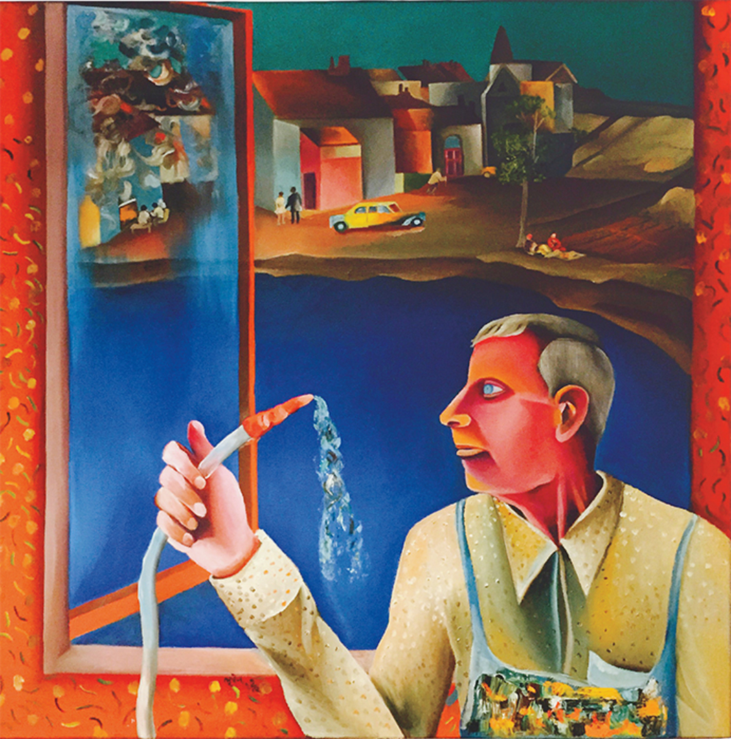 "Bhupen Khakhar, Window Cleaner, 1982, oil on canvas, 36 × 36""."