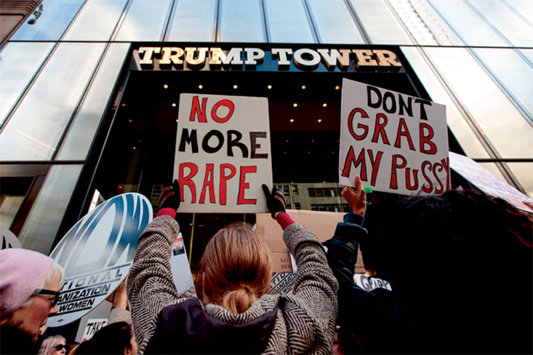 Demonstrators outside Trump Tower, New York, October 26, 2016. Photo: Drew Angerer/Getty Images.