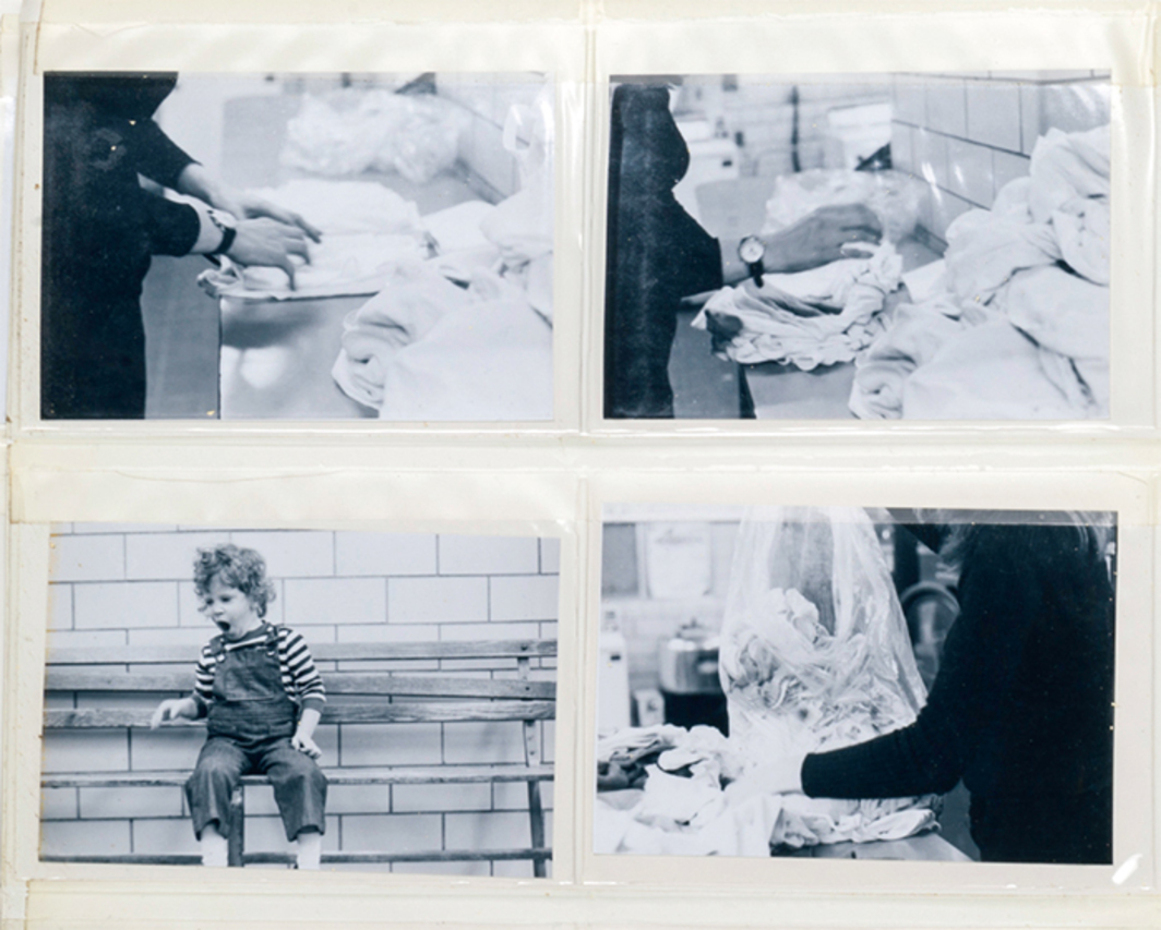 "Mierle Laderman Ukeles, Maintenance Art Tasks 1973 (detail), album with gelatin silver prints, chain, and rags, 13 × 12 1/2 × 1 3/4"". Photographs by Joshua Siderowitz, 1973."