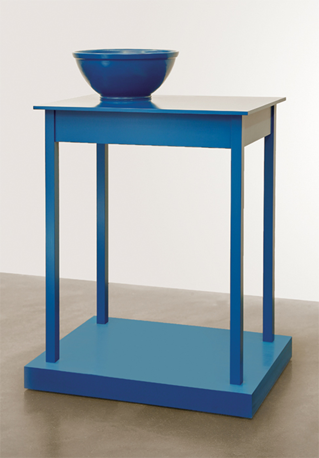 "Roy McMakin, Untitled (a table that looks like a sculpture), 2016, enamel on aluminum, eastern maple, plywood, 44 × 31 3/4 × 21 3/4""."