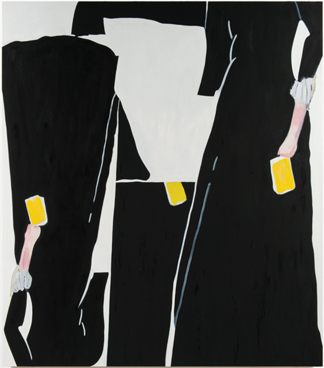 "Elizabeth McIntosh, Black Dress, 2016, oil on canvas, 85 × 75""."