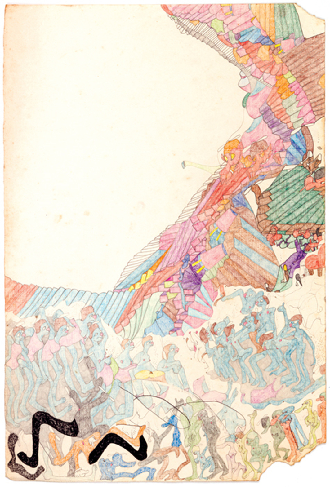 "Susan Te Kahurangi King, Untitled, ca. 1975–79, graphite, colored pencil, and crayon on paper, 17 × 11 1/2""."
