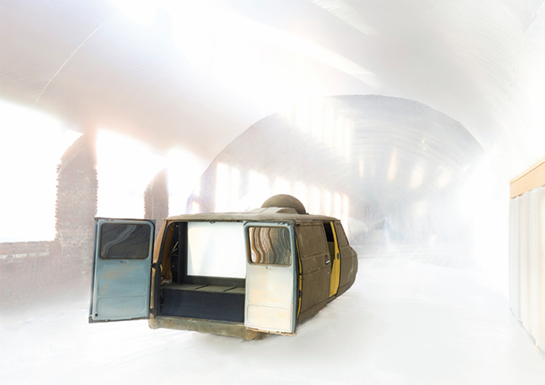 "View of ""Ant Farm and LST,"" 2016. Center: LST, Ant Farm Media Van v.08 [Time Capsule], 2008–. Inflatable enclosure: LST, ICE⎽9, 2016. Photo: Andrew Romer."