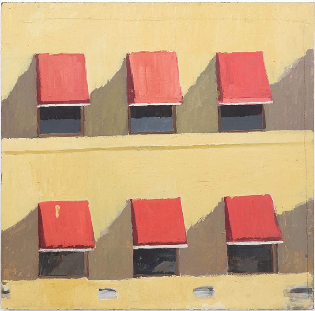 "Mary Ann Aitken, Untitled (Sherman Brothers Awnings), ca. 1985–89, oil on Masonite, 48 × 48""."