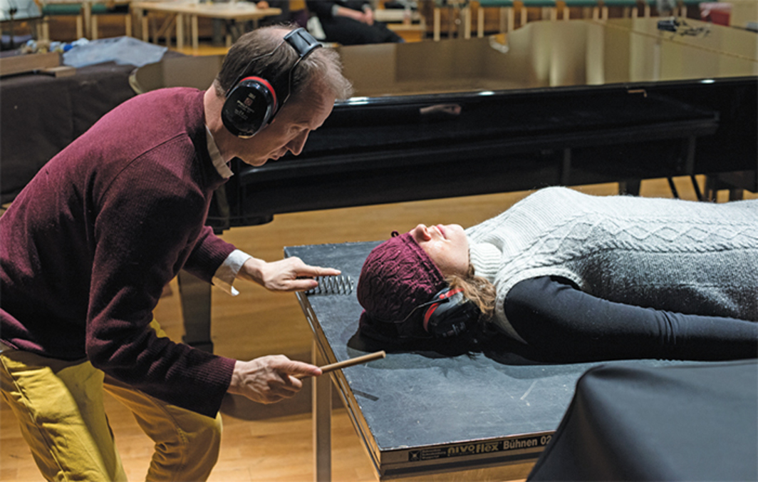 Tarek Atoui, WITHIN, Sound Massage Workshop with Thierry Madiot, 2016. Performance view, Grieg Academy, University of Bergen, Norway. From Bergen Assembly. Photo: Thor Brødreskift.