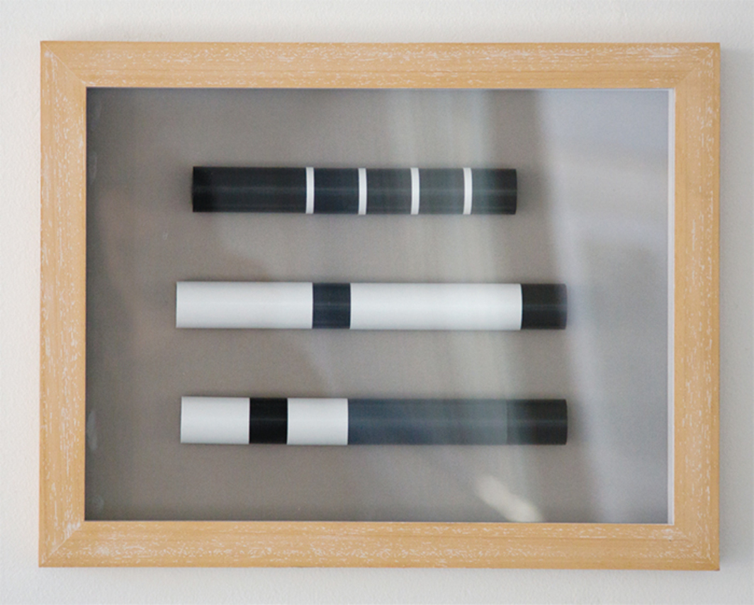 "Martin Ebner, Film Without Film (after The Evil Faerie by George Landow, FLUX Film No. 25, 1 min., 1966), 2013, PVC tube, wood, 11 3/4 × 15 1/2 × 1 1/2""."