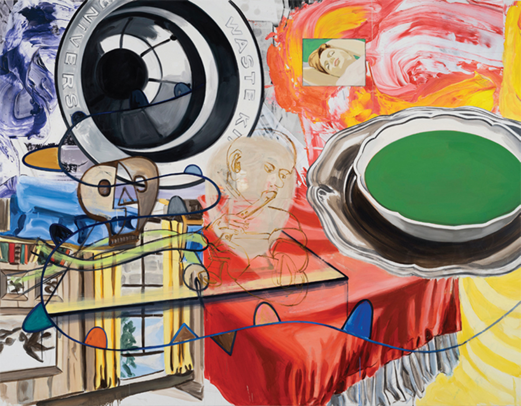 "David Salle, Playing, Dreaming, 2015, oil, acrylic, crayon, and ink-jet print on linen, 78 × 101 3/4""."