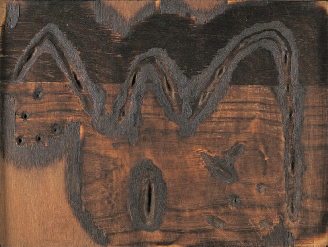 "Jeram Patel, Untitled, ca. 1960, burnt wood, 19 × 25""."