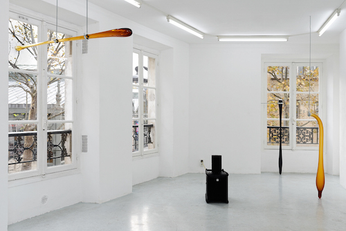 "View of ""Carlos Reyes and Jo-ey Tang: Black door code 31A5 à gauche puis 2ème étage tout droit à gauche (Black door code 31A5, then left, 2nd floor, then straight, then on the left),"" 2016."