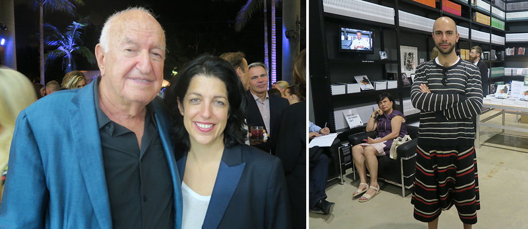 Left: Collector Don Rubell with artist Jennifer Rubell. Right: Dealer Felipe Dmab.