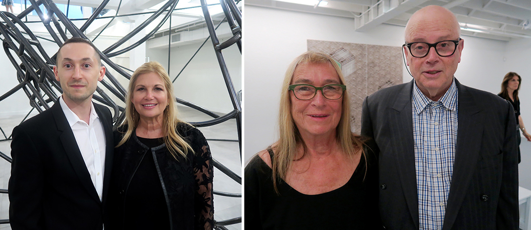 Left: ICA Miami deputy director and chief curator Alex Gartenfeld and ICA Miami director Ellen Salpeter. Right: Heike Bayrle and artist Thomas Bayrle.