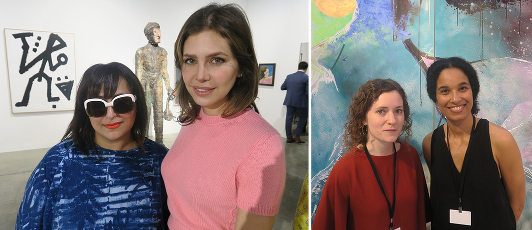 Left: Sharjah Art Foundation president and director Sheikha Hoor Al Qasimi and collector Dasha Zhukova. Right: Dealers Jessica Juckes and Eva Langret.
