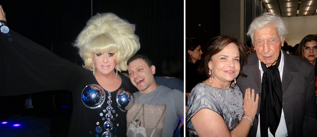 Left: Lady Bunny. Right: Dealer Nara Roesler and artist Julio Le Parc.