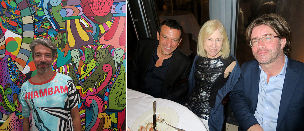 Left: Artist Eli Sudbrack. Right: Collector Stavros Merjos with dealer Angela Westwater and Städel Museum director of contemporary art Martin Engler.