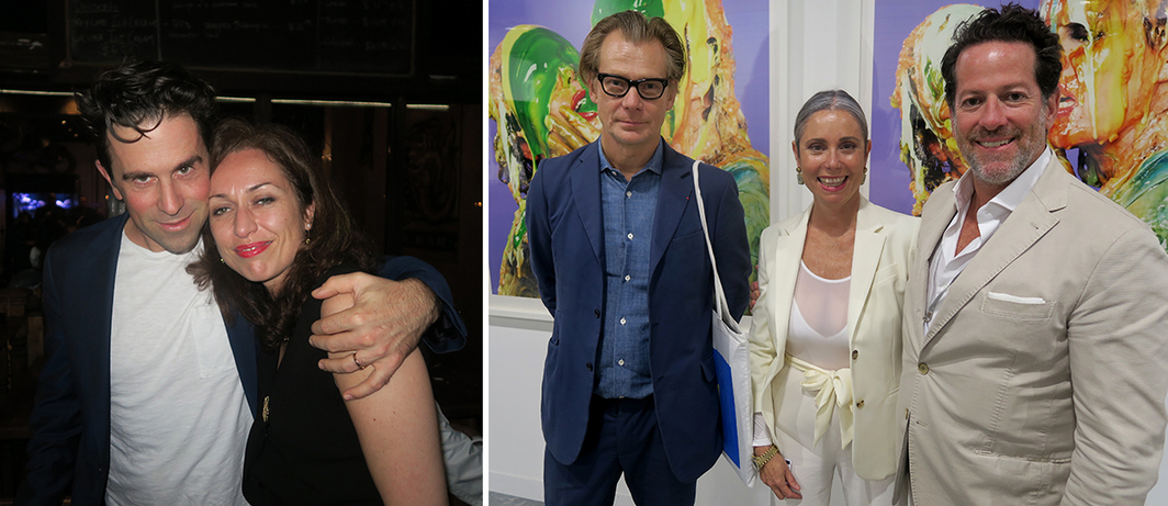 Left: Hirshhorn Museum curator-at-large Gianni Jetzer and Pompidou Foundation curator of American art Florence Derieux. Right: LA MoCA director Philippe Vergne with artist Maria Blum and dealer Tim Blum.