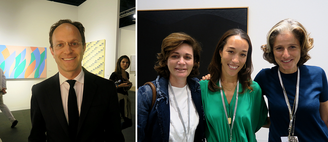 Left: Guggenheim Museum deputy director Ari Wiseman. Right: Film producer Dorothy Berman with dealers Alexis Johnson and Dominique Lévy.