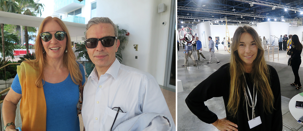 Left: Collector Suzanne Syz and curator Nicolas Trembley. Right: Dealer Lisa Spellman.