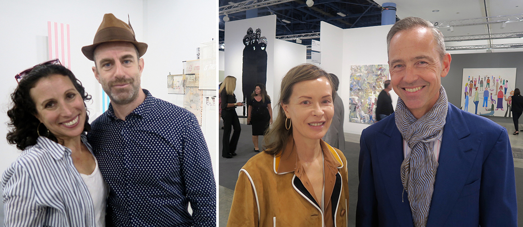 Left: Creative Time director Katie Hollander with artist Duke Riley. Right: Dealer Almine Rech and collector Julian Solms.