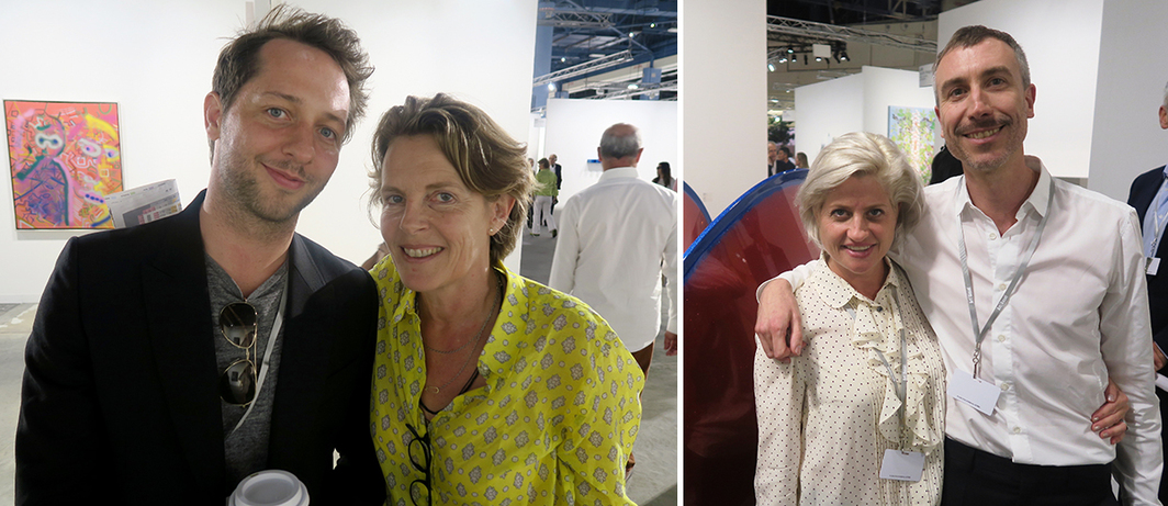 Left: Writer Derek Blasberg with architect Annabelle Selldorf. Right: Dealers Sarah Watson and Andres Gegner.