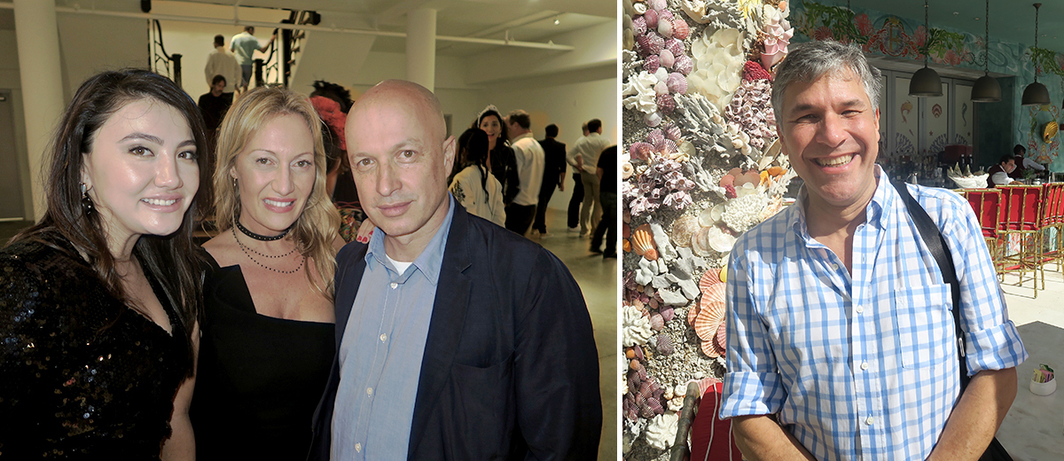 Left: Collector Dayana Tamendarova with Diana Widmaeir-Picasso and Beyeler Foundation director Sam Keller. Right: Dealer Pablo Vallecilla.