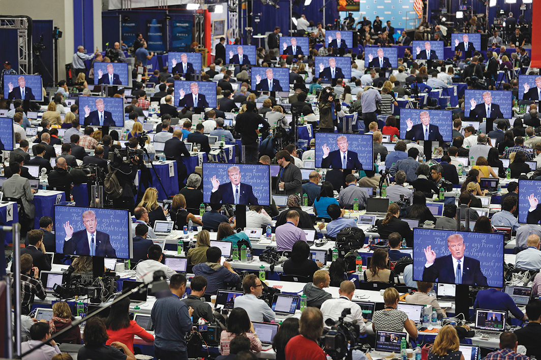 View of on-site media center at the presidential debate between Donald Trump and Hillary Clinton, Hofstra University, Hempstead, New York, September 26, 2016. Photo: John Locher/AP.