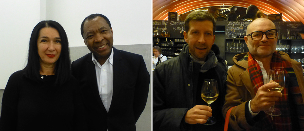 Left: Moderna galerija's Zdenka Badovinac and Haus der Kunst's Okwui Enwezor. Right: Curators Vít Havránek and Geörg Schollhammer. (All photos: Kate Sutton)