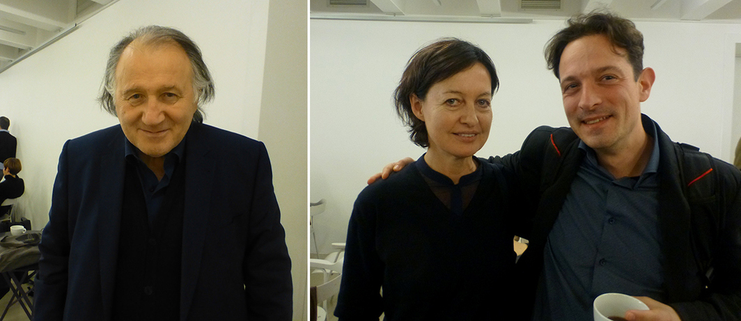 Left: ZKM's Peter Weibel. Right: Curators Kathrin Rhomberg and Daniel Grúň.