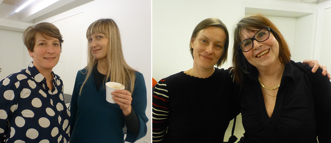 Left: Erste Foundation's Christiane Erharter and curator Jelena Vesić. Right: Igor Zabel Association for Culture and Theory's Urška Jurman with Jasna Zabel.