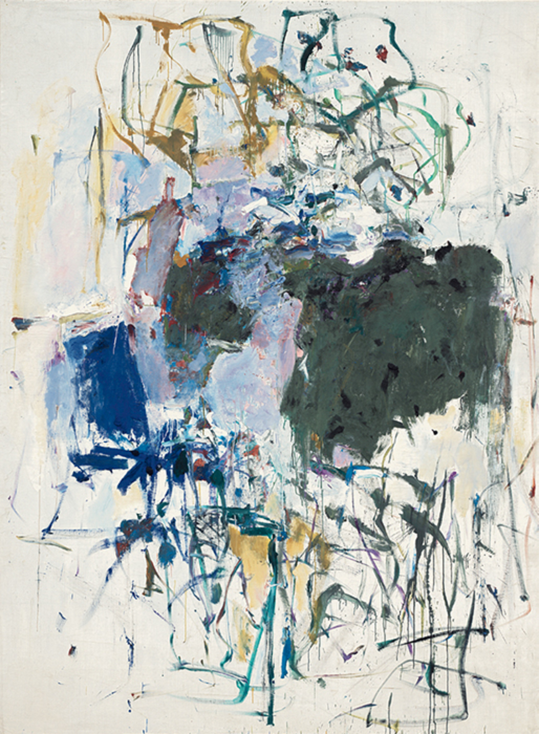 "Joan Mitchell, Untitled, 1964, oil on canvas, 108 × 79 5/8""."