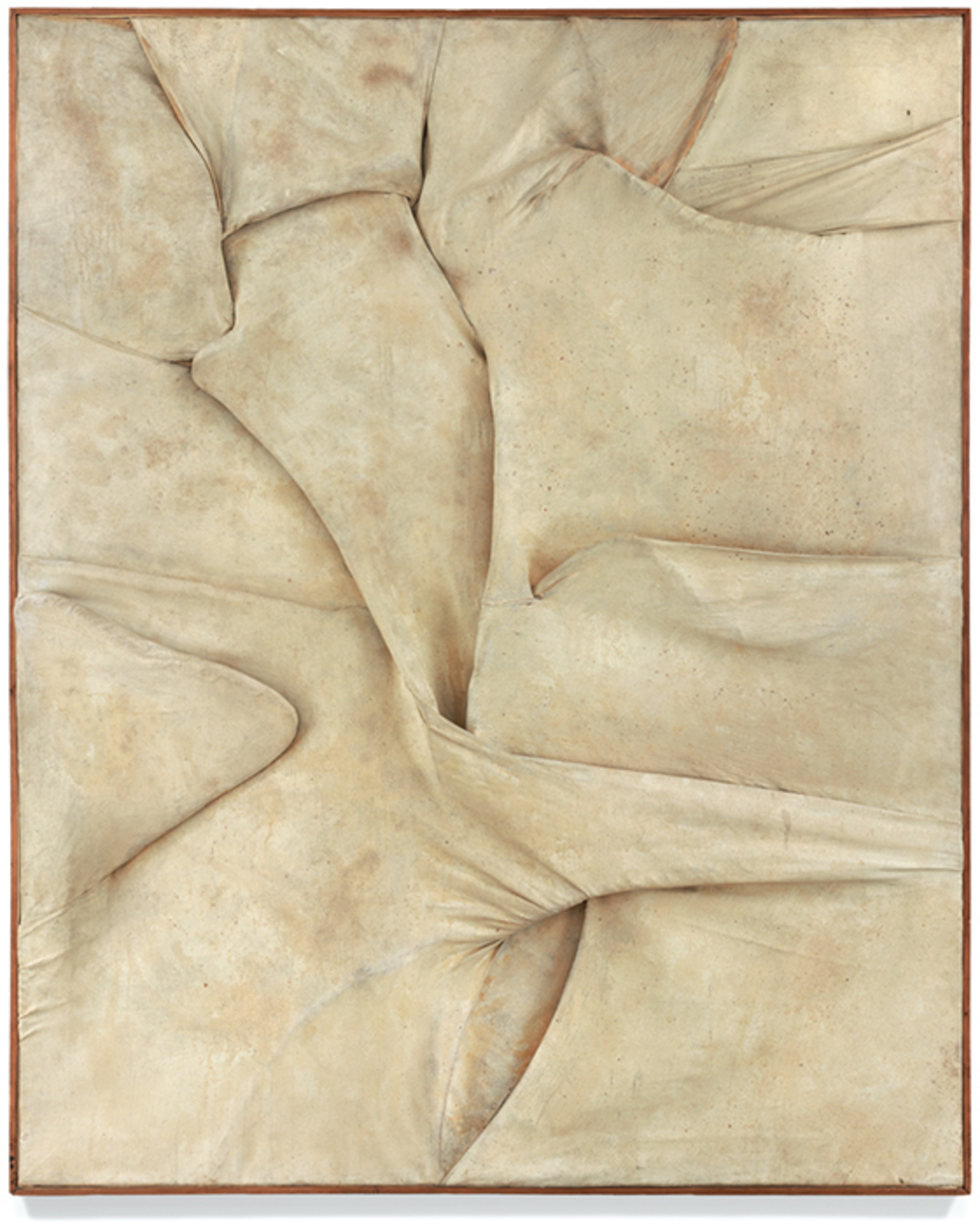"Salvatore Scarpitta, Matrimonio segreto (Extramural n. 6) (Secret Marriage [Extramural n. 6]), 1958, bandages, mixed media, 64 1/8 × 51 1/8"". © Stella Alba Cartaino."