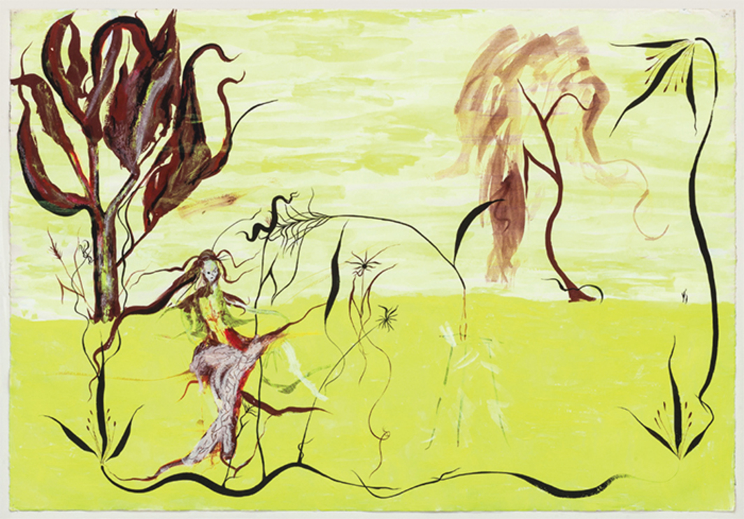 "Austė, Nine Powers of Nine Flowers, 1981, acrylic on paper, 29 1/2 × 41 1/2""."