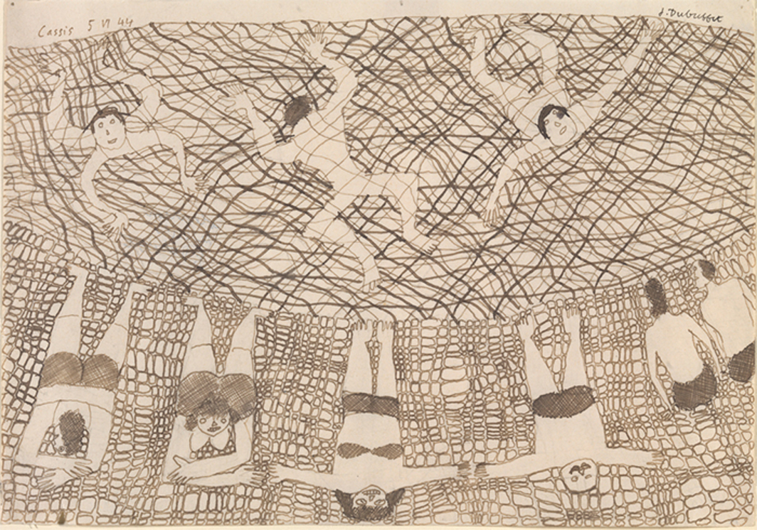 "Jean Dubuffet, Plage aux baigneurs (Beach with Bathers), 1944, pen and ink on paper, 6 3/8 × 9"". © Artists Rights Society (ARS), New York/ADAGP, Paris."