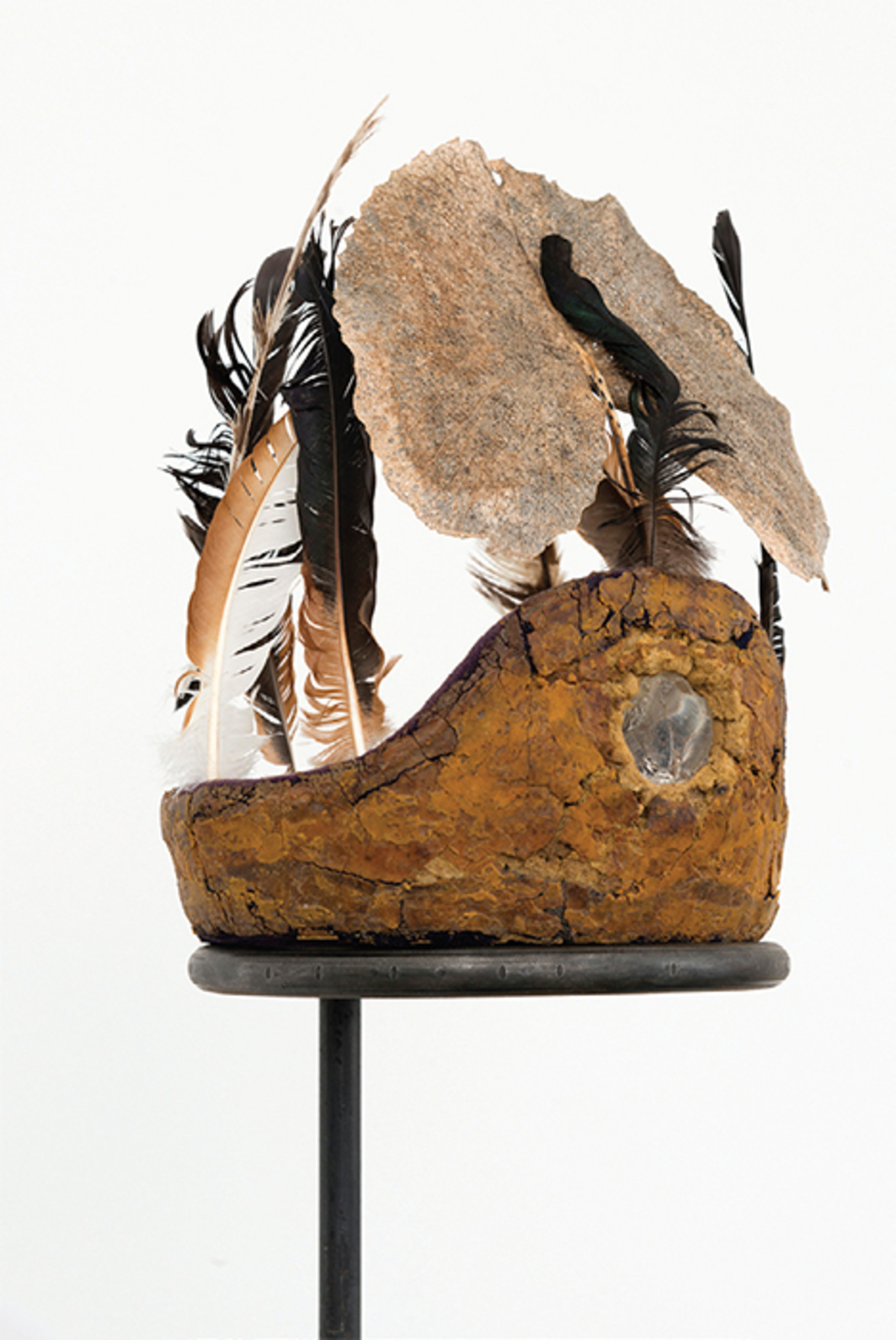 Harold Mendez, Margarita (detail), 2016, batting-helmet foam, broken glass, dried foliage, feathers, steel, 81 × 12 × 12""