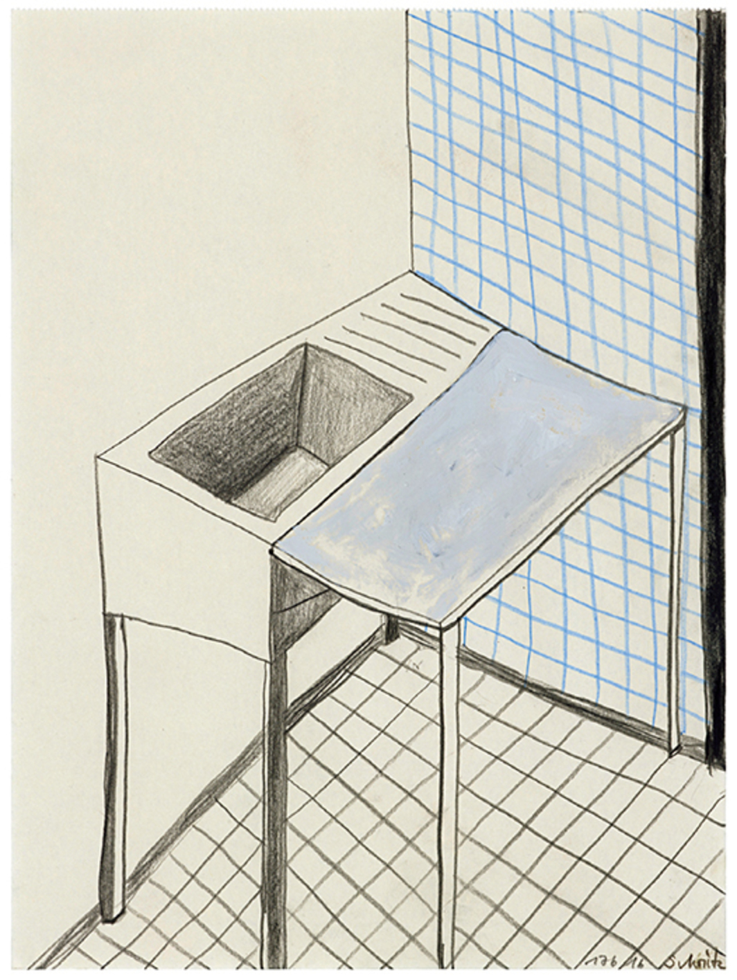 "Sabine Moritz, Laboratory 4, 2016, colored pencil and oil on paper, 12 5/8 × 9 3/8"". From the series ""Laboratory,"" 2016."