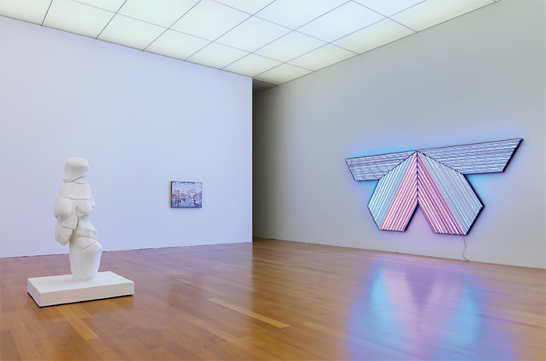 "View of ""Bertrand Lavier,"" 2016. From left: Vénus d'Amiens (Venus of Amiens), 2015; Le château des papes (The Papal Palace), 1991; Black Adder II, 2005. Photo: Stefan Altenburger Photography."