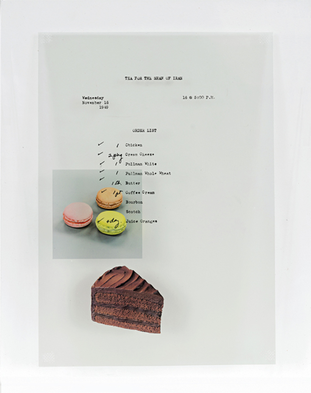 "Benjamin Crotty, Menu No. 3, 2016, acetate, glass, 12 × 9 1/4 × 1/8"". From the series ""Menu No. 1–15,"" 2016."