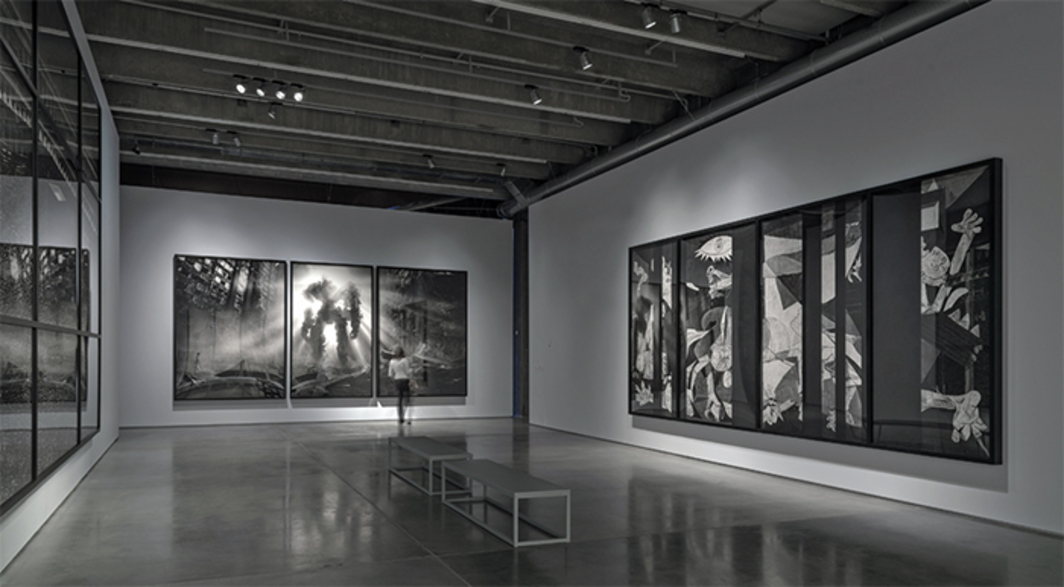 "View of ""Proof: Francisco Goya, Sergei Eisenstein, Robert Longo,"" 2016–17. Center: Robert Longo, Untitled (Pentecost), 2016. Right: Robert Longo, Untitled (Guernica Redacted, After Picasso's Guernica, 1937), 2014."
