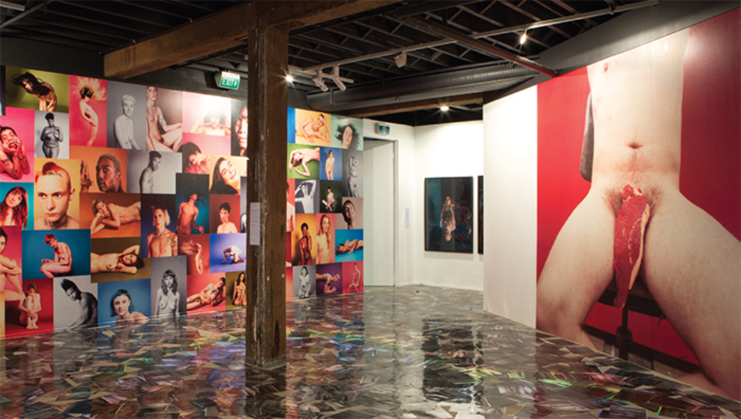 "View of ""THE PUBLIC BODy .01,"" 2016. Floor: Carter Mull, Broker, 2014. Walls, from left: Ryan McGinley, YEARBOOK, 2014; Abdul Abullah, Abdul-Hamid Ibrahim Percival Charles Charles Charles Charles, 2012; Sarah Lucas, Untitled, 2012. Photo: Jessica Maurer."