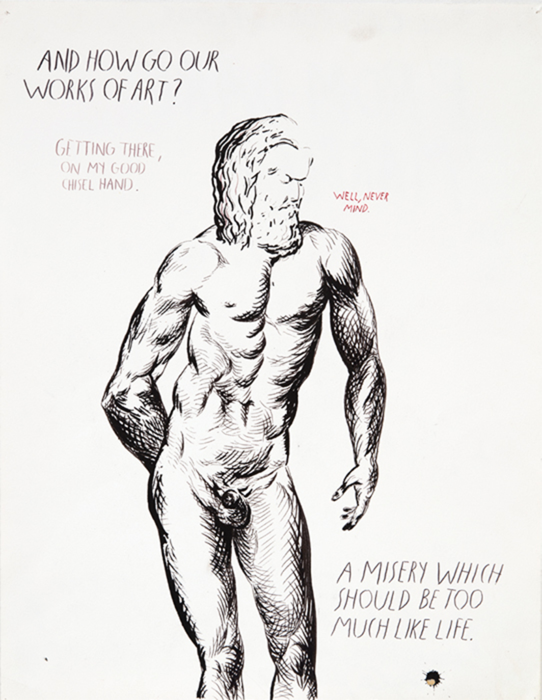 "Raymond Pettibon, No Title (And how go . . . ), 1992, pen and ink on paper, 22 × 17""."